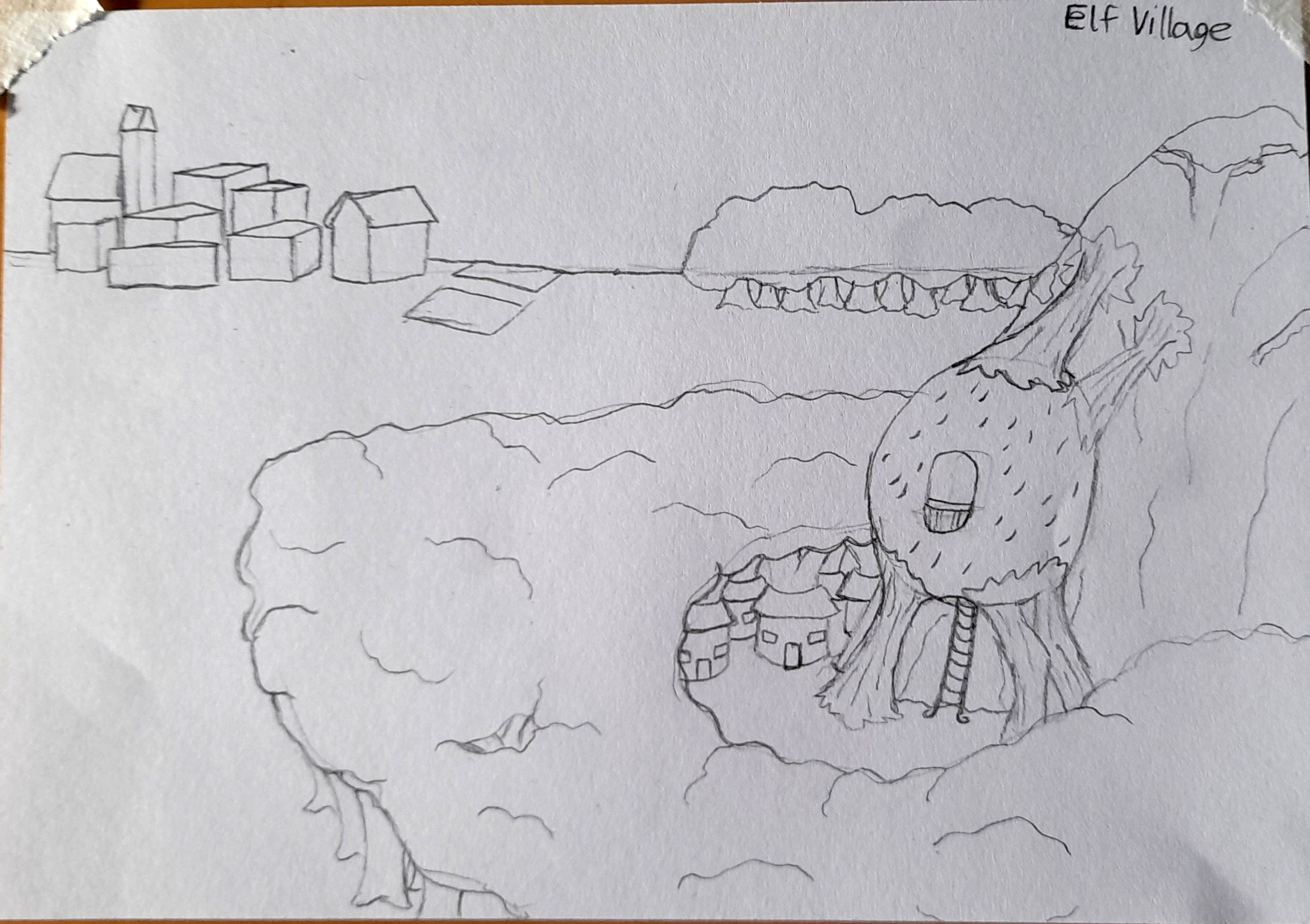 A pencil sketch of and elf village with huts built around tree trunks.