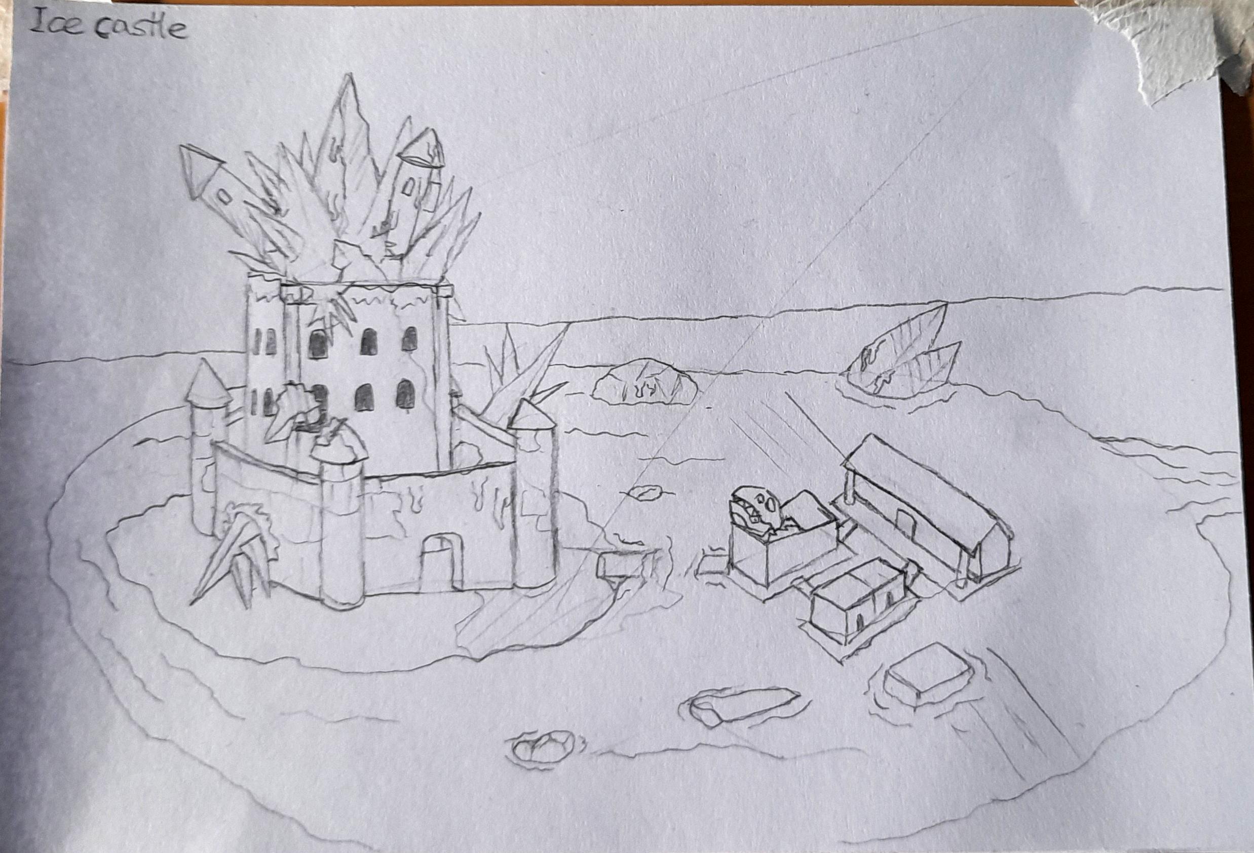 A pencil sketch of a castle that has been overtaken by ice