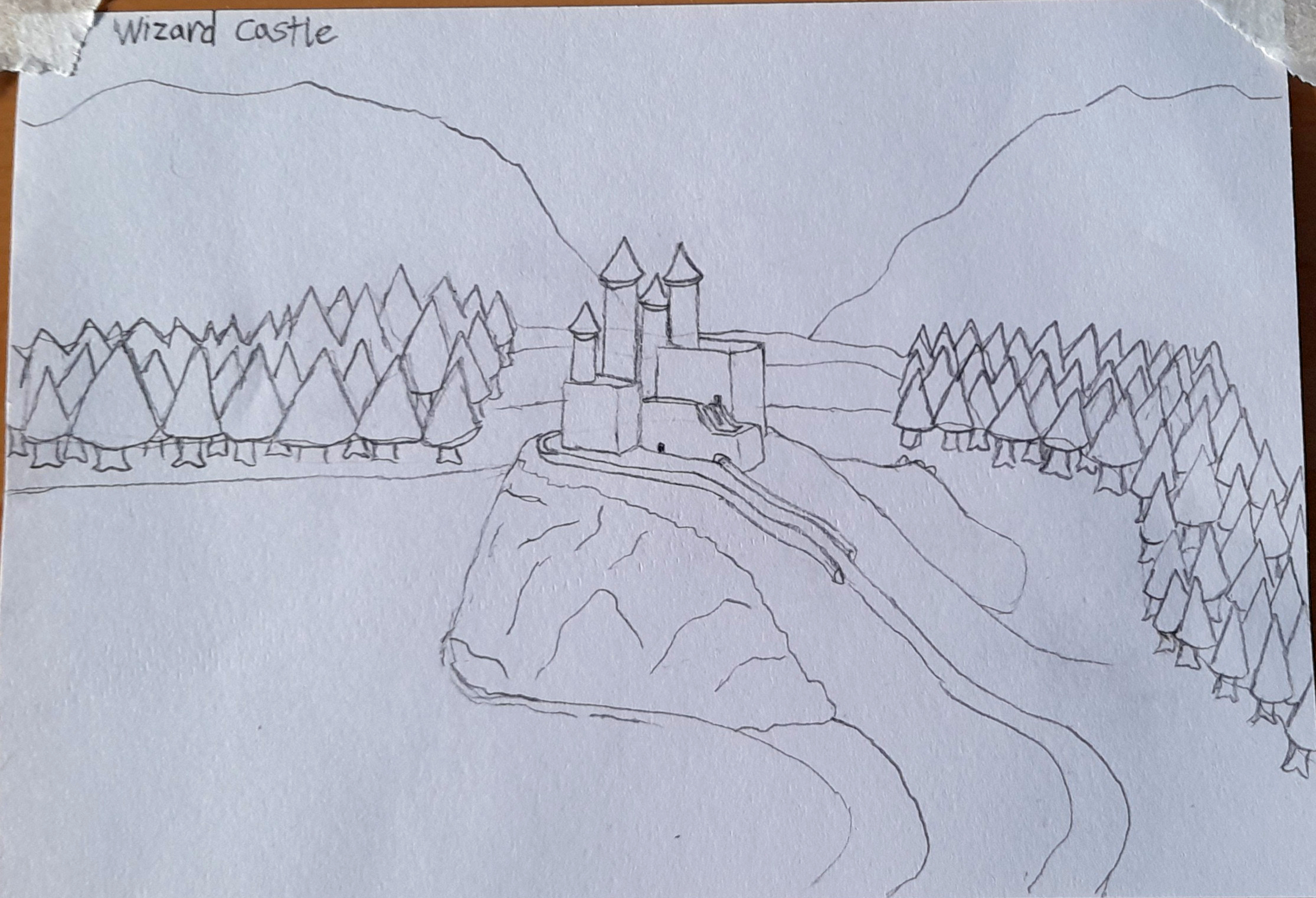 A pencil sketch of a castle between two fir forests.